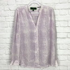 C. Wonder Reptile Print Silk PopOver Career Blouse